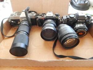 Vintage Mamiya/Sekor 1000 DTL Camera With Tamaron Zoom + Pentax-Nikon Cameras