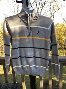 Boys Nautica Zipper Pullover Sweater Gray  with wide Stripes Sz L 14/16