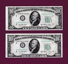 2 RUN NOTES  Fr. 2011-B   $10  1950 A  FEDERAL RESERVE NOTE NEW YORK UNC GEM