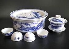 VINTAGE JAPANESE FINE PORCELAIN BLUE & WHITE SAKE TEA SET WARMER 4 CUPS BOWL