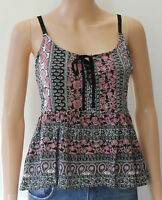 New Look Black Lace Up Folk Print Cami Smock Top 12 14 BNWT £12.99 Summer