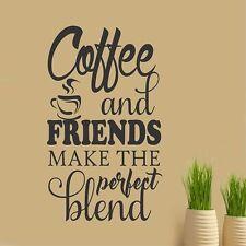 COFFEE & FRIENDS PERFECT BLEND Kitchen Wall Decals Sticker Cafe Vinyl Art Decor