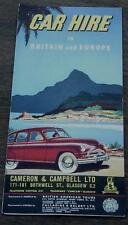Car Hire in Britain and Europe, Vintage Informational Tour Pamphlet