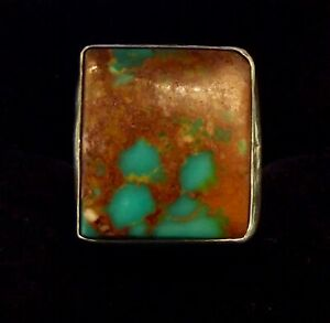 NAVAJO ROYSTON TURQUOISE SIGNED RING SIZE  6.5
