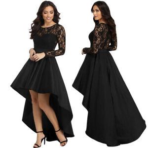 Vestito elegante donna pizzo sexy abito lungo cerimonia sera manica nero DS61910
