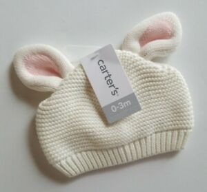 Carter's Infant Rabbit Eared Knit Cap White 0-3 months Newborn