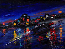 Original OIL Painting Arthur Robins NYC Cityscape street cars Times Square Limo