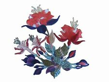 "#5073 3 3/8"" Red Hibiscus Bush Flower Embroidery Iron On Appliqué Patch"
