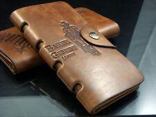 Men's Vintage Genuine Leather Wallet Long Bifold Card Case Holder Money Clip US