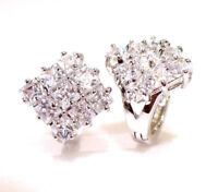 Hoop Earring White Gold Plated Clear CZ Cubic zirconia Snap Closure Luxury UK