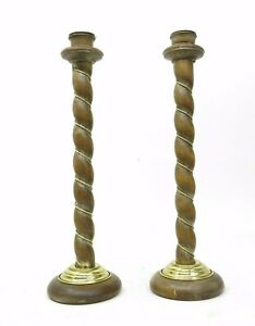 """Vtg Ethan Allen Italy Made Barley & Brass Twist 19"""" Candlesticks Candle Holders"""