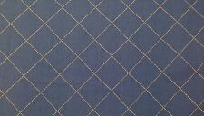 "Halifax Denim Blue #477 Tan Embroidered Diamond Designer Fabric By The Yard 54""W"