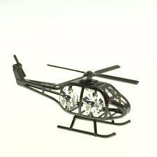 BLACK METALLIC HELICOPTER FIGURINE/ORNAMENT STUDDED SWAROVSKI CRYSTAL ELEMENTS