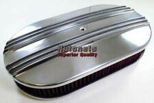 "15"" Polish Finned Aluminum Air Cleaner Washable Nostalgic Street Hot Rat Rod SBC"