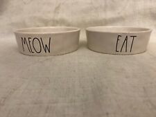Rae Dunn Cat Food/Water Bowls - Set of 2 - Eat & Meow