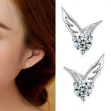 Womens Angel Wing Earrings 925 Sterling Silver Crystal Studs Fashion Jewellery