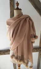 100% WOOL SHAWL/ WRAP SCARF WITH FUR POM POM TRIM IN CAMEL/BEIGE.