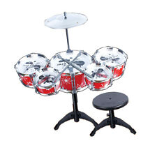 Kids/Junior Drum Set Toy with Stool, Cymbal & Drumsticks Red Christmas Gift