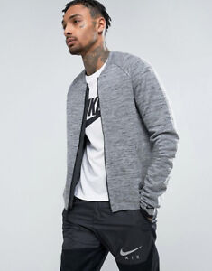 MENS NIKE SPORTSWEAR TECH KNIT BOMBER FULL ZIP JACKET 810558-065 GREY 2XL $250