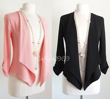 NEW Black or Pink Airy Crepe Open Front Draped Waterfall 3/4 Slvs Blazer Jacket