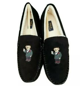 Polo Ralph Lauren Slippers UK 10 US 11 Bear Embroidery Boxed Comfy Loafer