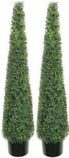 2 BOXWOOD OUTDOOR 5' TOPIARY TREE UV CONE TOWER FAKE 4 3 PATIO ARTIFICIAL BALL