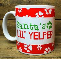Santa's Little Yelper Cup Mug Dog Paw Prints Ceramic Large Red Christmas NWOT