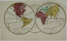 WORLD 1793 HAND DRAWN ORIGINAL ANTIQUE WORLD MAP