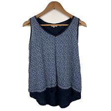 Fat Face Womens Tank Top Size 10 Blue 100% Linen Sleeveless Top