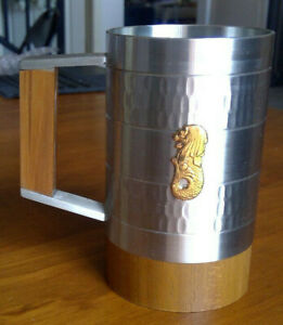 Oriental Pewter Tankard 7cm diameter,10cm height with with wooden handle Merlion