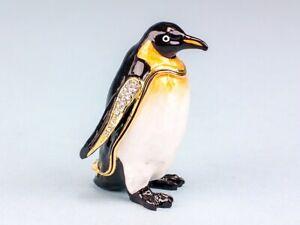 Beautiful Cloisonne Standing Penguin Ornament Trinket Box Figurine Home