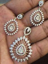 3.48 Cts Round Brilliant Cut Diamonds Pendant Earrings Set In Fine 14K Rose Gold