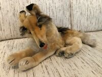 "Vintage STEIFF Mohair Plush Collie Dog Lying Down 20"" Button in Ear"