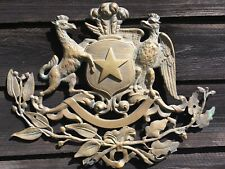Antique Brass Bronze Heraldry Sign Emblem Coat of Arms Eagle Star Mythical Beast