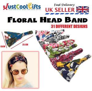 Ladies Flower Headband Pattern Twist Knot Elastic Head Wrap Turban Hair Band UK