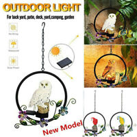 Solar Hanging LED Owl Parrot Lawn Light Outdoor Yard Garden Decor Lamp Ornament