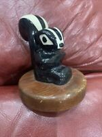 Vtg Rio Hondo? Pottery Ceramic Skunk Figurine On Redwoods Wood Base