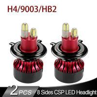 2x H4 9003 HB2 LED Headlight Kit Bulb 8Side CSP Chip 200W 32000LM 6500K Headlamp