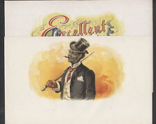 LA5611 SET OF 2, DANDY SMOKING AFRICAN AMERICAN WITH TOP HAT & CANE ,LITHO