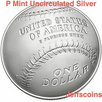2014 P National Baseball Hall of Fame 90% Silver Uncirculated Dollar Box COA B34