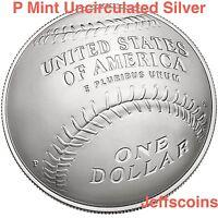 2014 P National Baseball Hall of Fame 90% Silver Uncirculated Dollar Box COA B34
