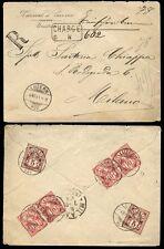 Suiza 1891 carga registrada en caja a Milán.. Kursaal Lucerna Env..6 Sellos