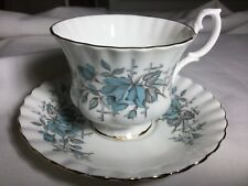 ROYAL ALBERT BONE CHINA  CUP AND SAUCER ENGLAND     WHITE/BLUE ROSES