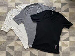 3 x Rapha merino wool short-sleeve v-neck cycling base layers (Medium) FLAWLESS!