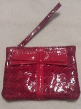 Burgandy Wristlet-Deep Fancy Designs Accentuate Wristlet-Glossy-Bow On Front