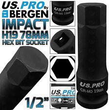 """BERGEN H19 Impact Hex Bit Socket 1/2"""" 19mm Impact Allen Key 78mm long Hex Socket"""