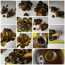 2 Vintage Lucite Acrylic Large Brown Grape Cluster Drift Wood Mid Century Modern