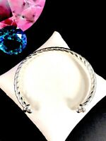 DESIGNER SU SIGNED ITALY 925 STERLING SILVER CABLE STYLE CUFF BRACELET