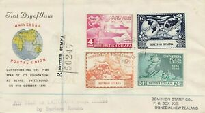 BRITISH GUIANA : UNIVERSAL POSTAL UNION 75th ANNIV., REG. FIRST DAY COVER (1949)