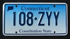 "CONNECTICUT "" CONSTITUTION STATE - BLUE - 108 ZZY "" CT Graphic License Plate"